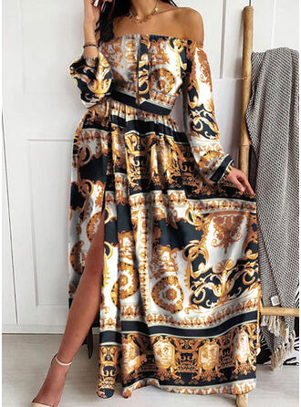Print Long Sleeves A-line Skater Vintage/Party/Boho Maxi Dresses