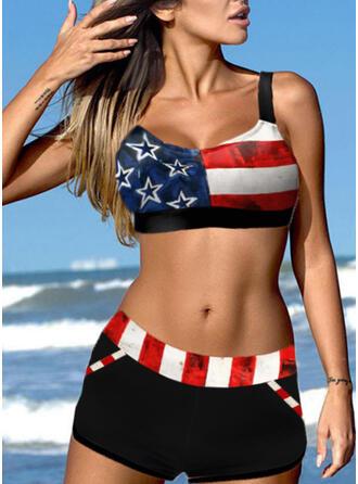 Stripe Star Strap U-Neck Boho Bikinis Swimsuits