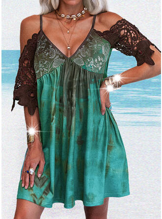 Lace/Print/Tie Dye/Backless 1/2 Sleeves Shift Above Knee Casual Tunic Dresses