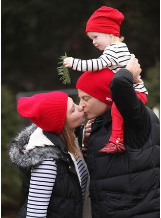 Solid Color Warm/Comfortable/Christmas/Family Matching Hats 3 PCS
