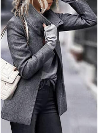 Knit Long Sleeves Solid Slim Fit Coats