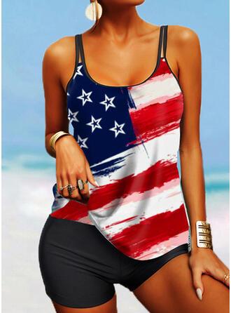 Flag Star Splice color Strap U-Neck Boho Tankinis Swimsuits