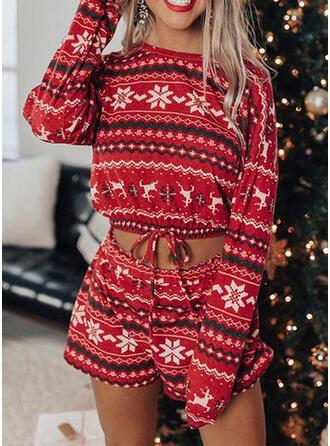 Polyester Long Sleeves Christmas Pyjama Set