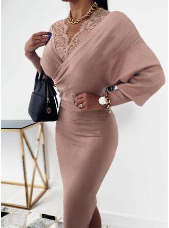 Lace/Solid Long Sleeves/Lantern Sleeve Bodycon Knee Length Elegant Pencil Dresses