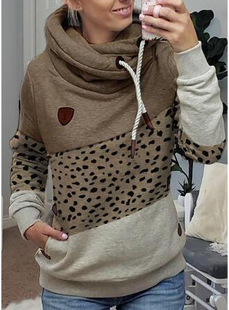 Trozos de color Leopardo Manga larga con capucha