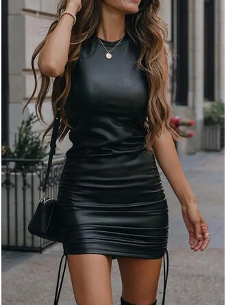 Solid PU Sleeveless Bodycon Above Knee Casual Tank Dresses