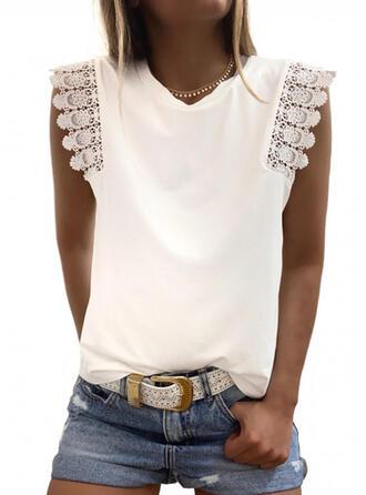 Sólido Encaje Cuello en V Sin mangas Casual Elegante Camisetas sin mangas