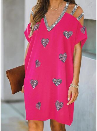 Sequins/Heart Short Sleeves Shift Above Knee Elegant Dresses