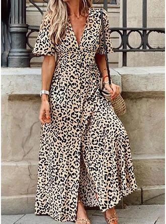 Leopardo Manga Corta Acampanado Casual/Vacaciones Maxi Vestidos