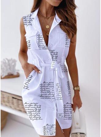 Impresión Sin mangas Cubierta Sobre la Rodilla Casual Vestidos