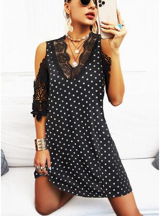 Lace/PolkaDot 1/2 Sleeves Shift Above Knee Elegant Tunic Dresses