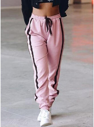 Fruncido Cordón Largo Casual Deportivo Pantalones