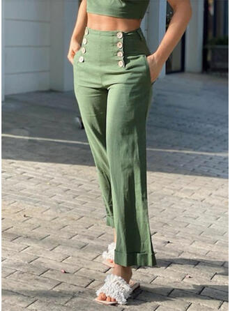 Solid Plus Size Casual Elegant Sexy Long Solid Pants