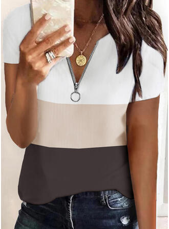 Color Block V-Neck Short Sleeves Casual Blouses