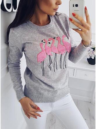 Estampado Animal Cuello Redondo Casuales Suéteres