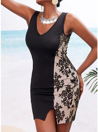 Print Sleeveless Bodycon Above Knee Elegant Dresses