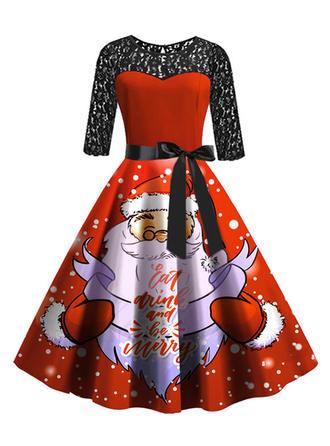 Encaje/Impresión Mangas 3/4 Acampanado Hasta la Rodilla Vintage/Navidad/Fiesta/Elegante Vestidos