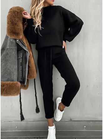 Solid Casual Sporty Plain Suits