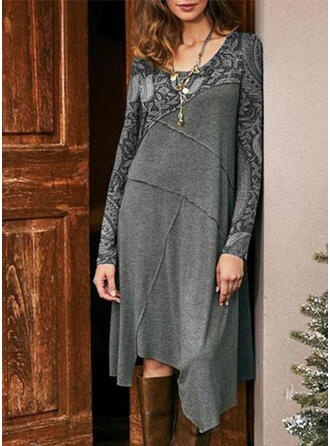 Print Long Sleeves Shift Knee Length Elegant Tunic Dresses