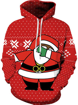Unisex Cotton Blends Print Santa Christmas Sweatshirt