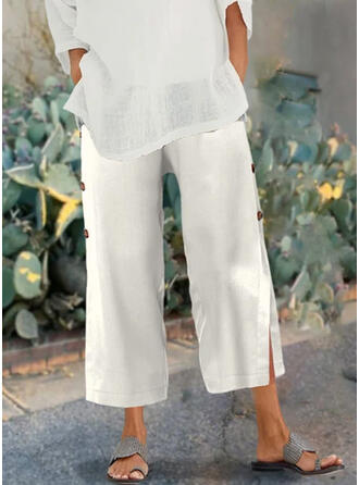 Solid Shirred Plus Size Casual Plain Lounge Pants