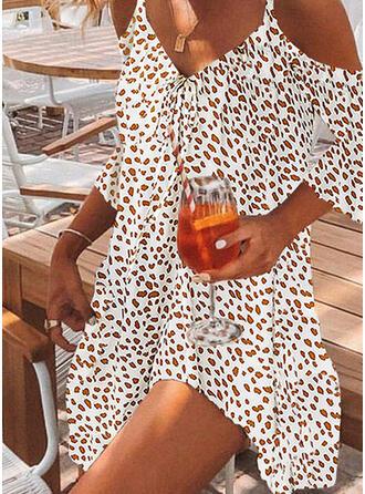 Impresión Mangas 3/4/Top sin hombros Tendencia Sobre la Rodilla Casual/Vacaciones Vestidos