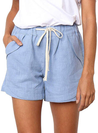 Solid Drawstring Above Knee Casual Solid Shorts