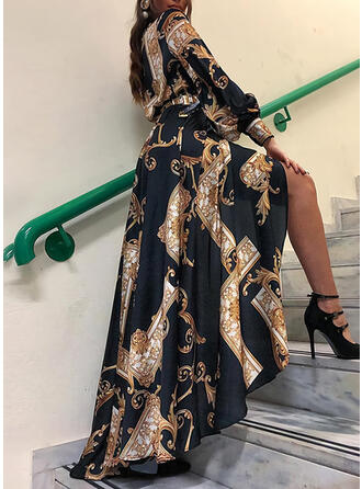 Print Long Sleeves A-line Shirt/Skater Vintage/Party Maxi Dresses