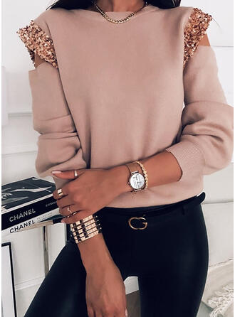 Solid Sequins Cold Shoulder Casual Sweaters
