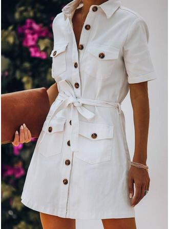Sólido Manga Corta Cubierta Sobre la Rodilla Casual/Elegante Vestidos