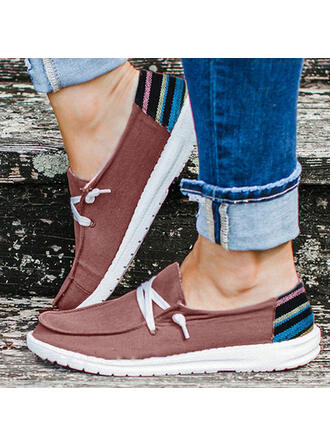Women's Canvas Flat Heel Flats With Splice Color Bandage shoes
