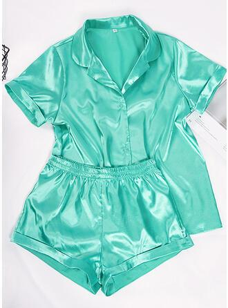 Satén Color sólido Manga Corta Seductor Conjunto de pijama