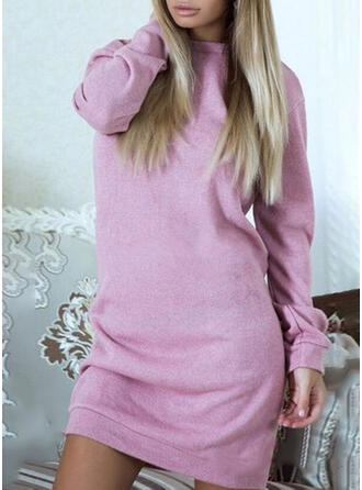 Lace/Solid Long Sleeves Shift Above Knee Sexy/Casual Dresses