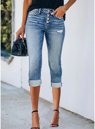 Solid Denim Capris Casual Plus Size Office/Business Pocket Ripped Button Denim & Jeans