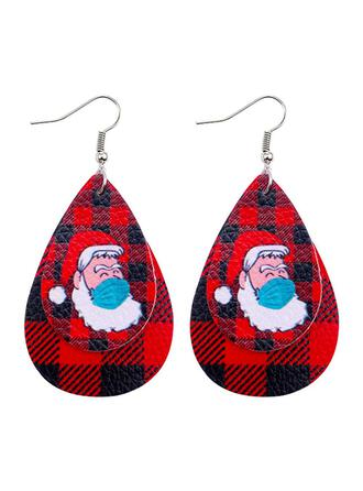 Drop Shape Christmas Christmas Santa Survivor 2020 PU Women's Earrings 2 PCS