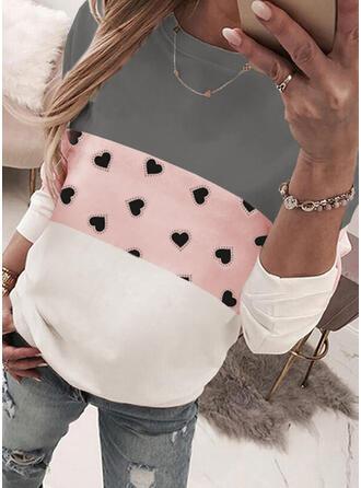 Print Color Block Heart Round Neck Long Sleeves Sweatshirt