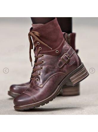De mujer PU Tacón ancho Botas Martin botas Cima mas alta con Hebilla Banda elástica Color de empalme Color sólido zapatos