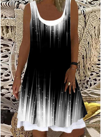 Print/Gradient Sleeveless Shift Knee Length Tank Dresses