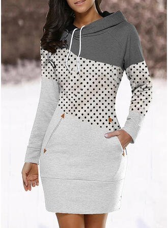 Color Block/PolkaDot Long Sleeves Bodycon Above Knee Casual Sweatshirt Dresses