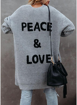 Print/Letter Knit Long Sleeves Dropped Shoulder Shift Knee Length Casual Sweater Dresses