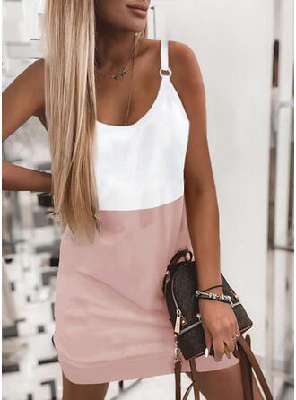 Color Block Sleeveless Sheath Above Knee Casual Slip Dresses