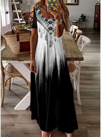 Print/Gradient Short Sleeves Cold Shoulder Sleeve Shift Casual/Vacation Maxi Dresses