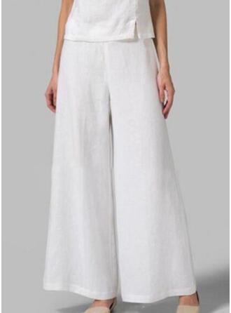 Fruncido Talla extra Largo Boho Casual Llanura Pantalones