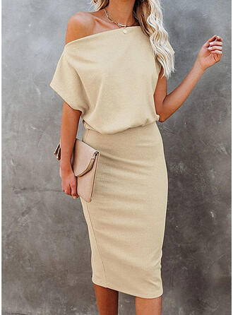 Solid Short Sleeves Bodycon Knee Length Elegant Pencil Dresses