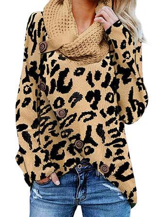 Leopardo Cuello De Tortuga Casuales Suéteres