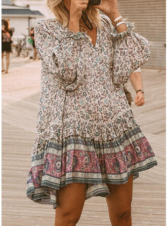 Print Long Sleeves Shift Above Knee Casual/Boho Tunic Dresses