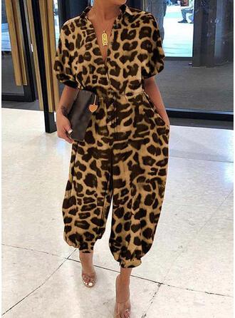 Talla extra Camuflaje Leopardo Cordón Largo Casual Sexy Monos y mamelucos