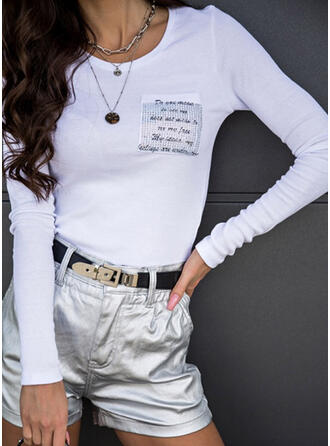 Figure Beaded Round Neck Long Sleeves Casual T-shirts