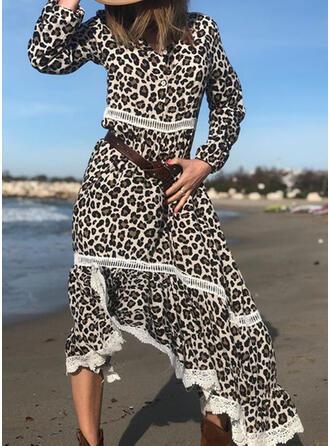 Encaje/Leopardo Manga Larga Acampanado Asimétrico Casual/Vacaciones Vestidos