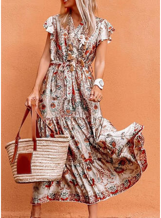 Print/Floral Short Sleeves A-line Wrap/Skater Casual Maxi Dresses